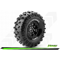 Louise RC - CR-ROWDY - Set de pneus Crawler 1-10 - Monter - Super Soft - Jantes 1.9 Noir - Hexagone 12mm - L-T3233VB