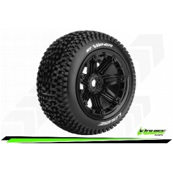Louise RC - ST-VIPER - 1-8 Stadium Truck Tire Set - Monter - Sport - Jantes type Bead 3.8 Noir - Hexagone 17mm - L-T3289B