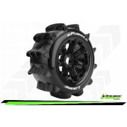 Louise RC - B-PADDLE - Set de pneus Buggy 1-5 - Monter - Sport - Jantes Bead-Lock Noir - Hexagone 24mm - Arr. - L-T3280B