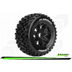Louise RC - SC-UPHILL - Set de pneus Short Course 1-5 - Monter - Sport - Jantes Bead-Lock Noir - Hexagone 24mm - Arr.