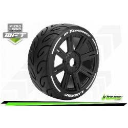 Louise RC - MFT - GT-TARMAC - Set de pneus Buggy 1-8 - Monter - Soft - Jantes a Batons Noir - Hexagone 17mm - L-T3285SB