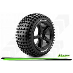 Louise RC - T-ROCK - Set de pneus Truggy 1-8 - Monter - Soft - Jantes a Batons Noir - 0-Offset - Hexagone 17mm - L-T3251SB