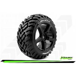 Louise RC - T-APOLLO - Set de pneus Truggy 1-8 - Monter - Soft - Jantes a Batons Noir - 0-Offset - Hexagone 17mm - L-T3252SB