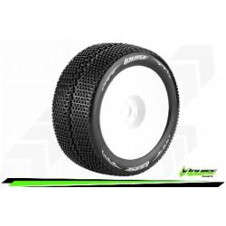 """Louise RC - T-TURBO - Set de pneus Truggy 1-8 - Monter - Soft - Jantes Pleine Blanc - 1/2""""-Offset - Hexagone 17mm - L-T3112SWH"""