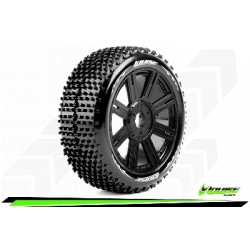 Louise RC - B-HORNET - Set de pneus Buggy 1-8 - Monter - Soft - Jantes a Batons Noir - Hexagone 17mm - L-T3150SB
