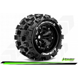 Louise RC - MT-MCROSS - Set de pneus Monster Truck 1-8 - Monter - Sport - Jantes 3.8 Noir - 1/2-Offset - Hexagone 17mm