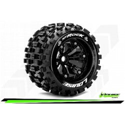Louise RC - MT-ROCK - Set de pneus Monster Truck 1-8 - Monter - Sport - Jantes 3.8 Noir - 1/2-Offset - Hexagone 17mm