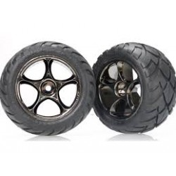 "Traxxas Tires & wheels, assembled (Tracer 2.2"" black chrome wheels, Anaconda® 2.2"" tires with foam inserts) (2) (Bandit rear)"