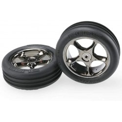 "Traxxas Tires & wheels, assembled (Tracer 2.2"" black chrome wheels, Alias ribbed 2.2"" tires) (2) (Bandit front)"